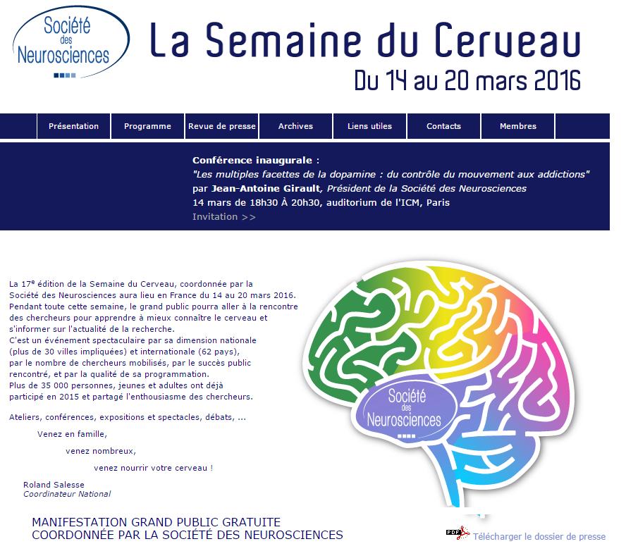 Semaine du cerveau du 14 au 20 mars 2016